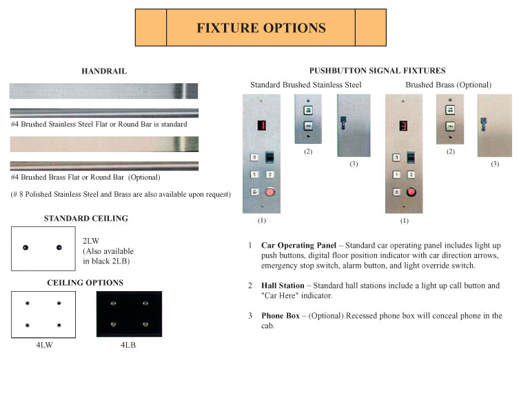 Alliance elevator gate and fixture options for Elevator options